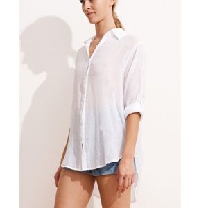 Sundry Navy gauze button up long sleeve top